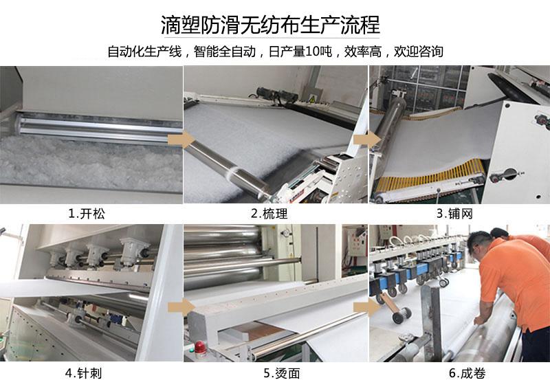 滴塑防滑无纺布生产流程