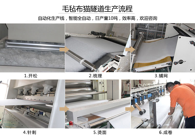毛毡布猫隧道生产流程