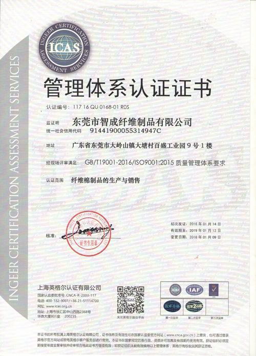智成2015版ISO质量认证证书