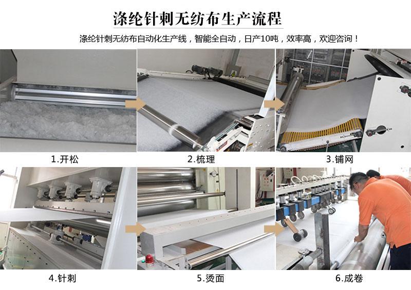 涤纶针刺无纺布生产流程