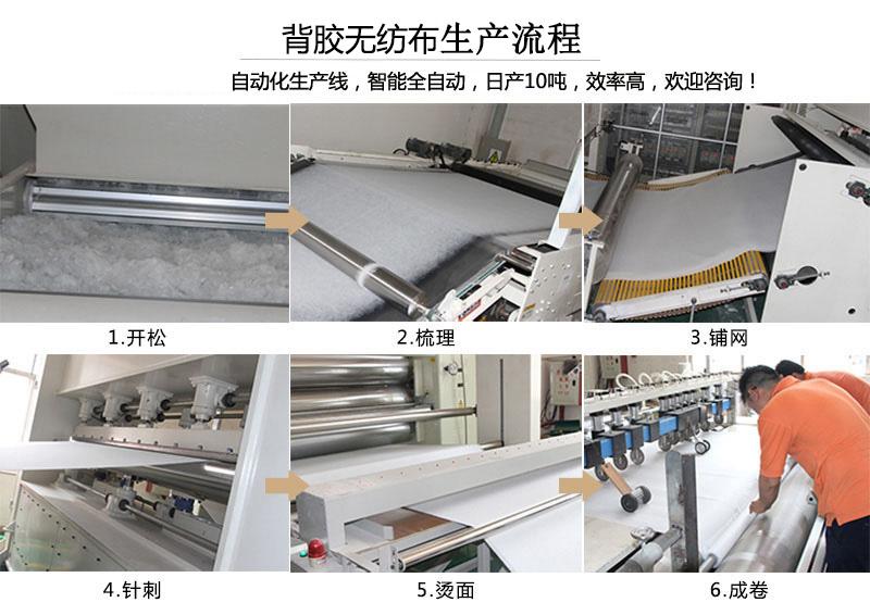背胶无纺布生产流程
